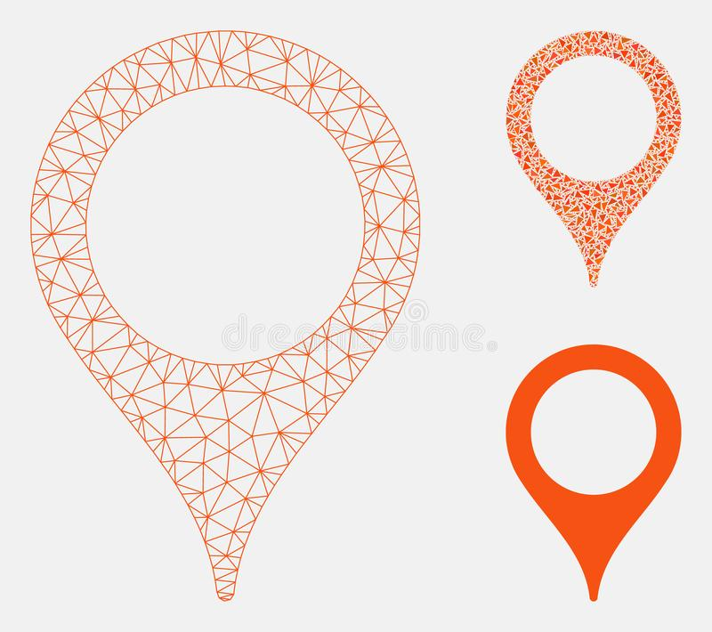 Map Marker Vector Mesh Carcass Model and Triangle Mosaic Icon. Mesh map marker model with triangle mosaic icon. Wire carcass polygonal mesh of map marker. Vector royalty free illustration