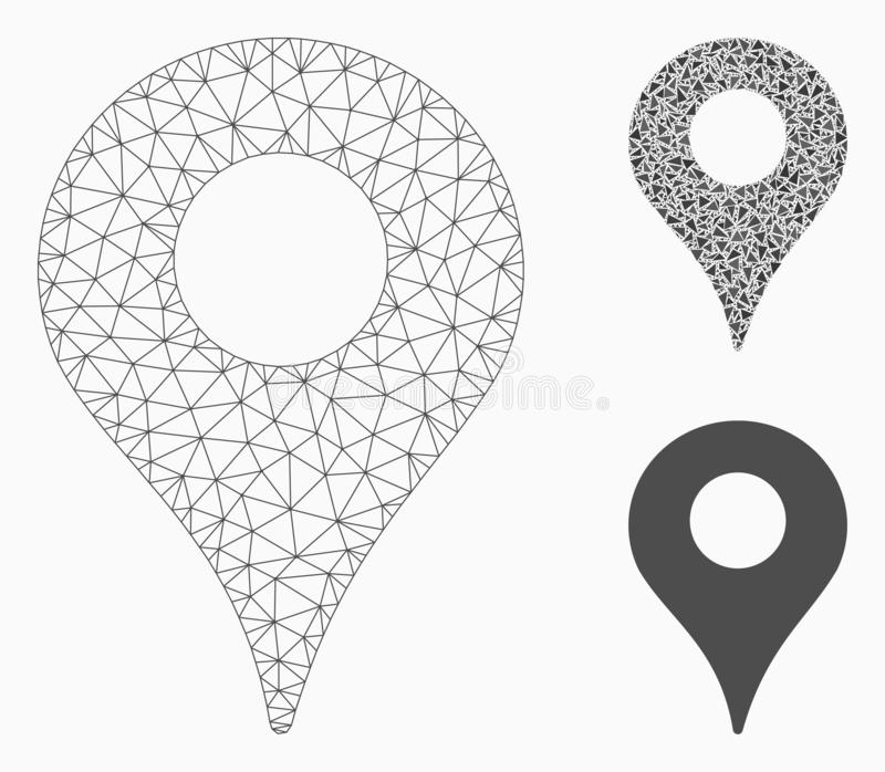 Map Marker Vector Mesh Network Model and Triangle Mosaic Icon. Mesh map marker model with triangle mosaic icon. Wire carcass triangular network of map marker royalty free illustration