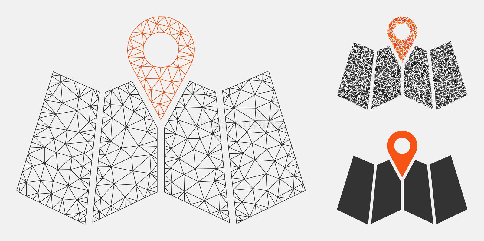 Map Marker Vector Mesh Wire Frame Model and Triangle Mosaic Icon. Mesh map marker model with triangle mosaic icon. Wire frame triangular mesh of map marker stock illustration
