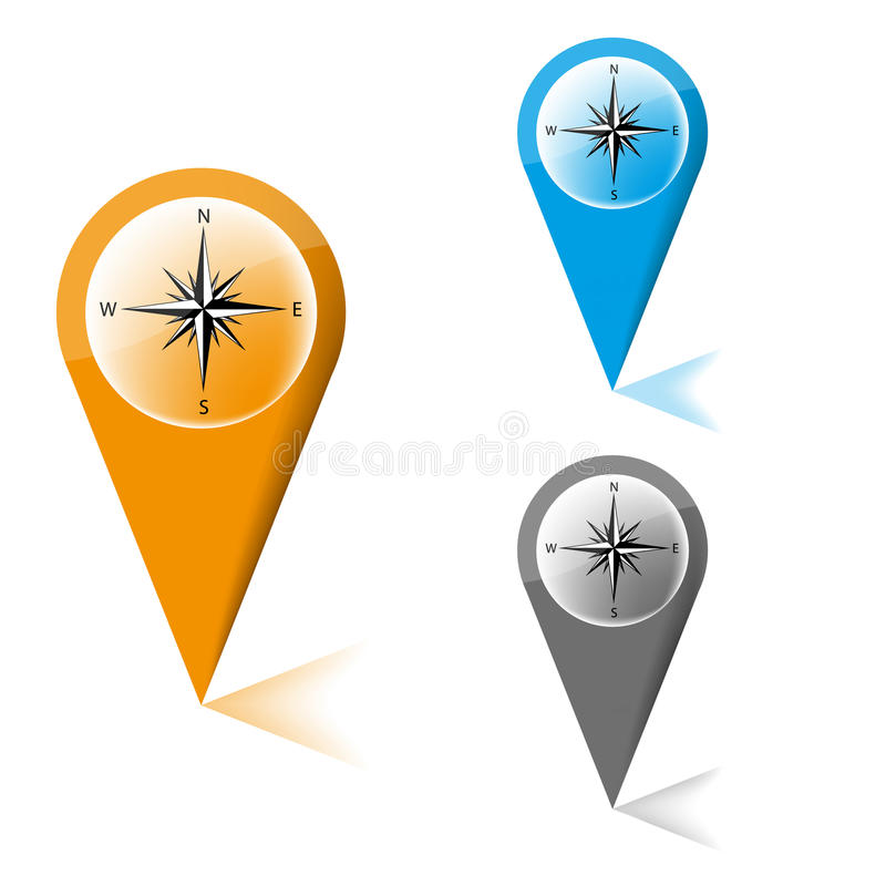 Free Map Marker With Icon Of A Compass Royalty Free Stock Photo - 32812225