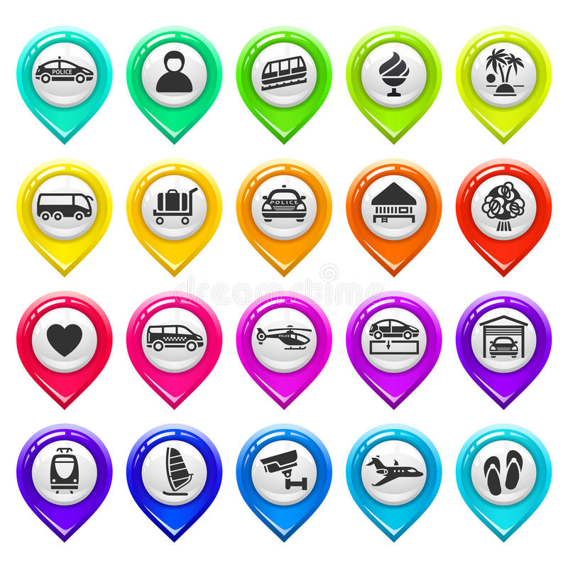 Free Map Marker With Icons-set Six Royalty Free Stock Images - 31098319