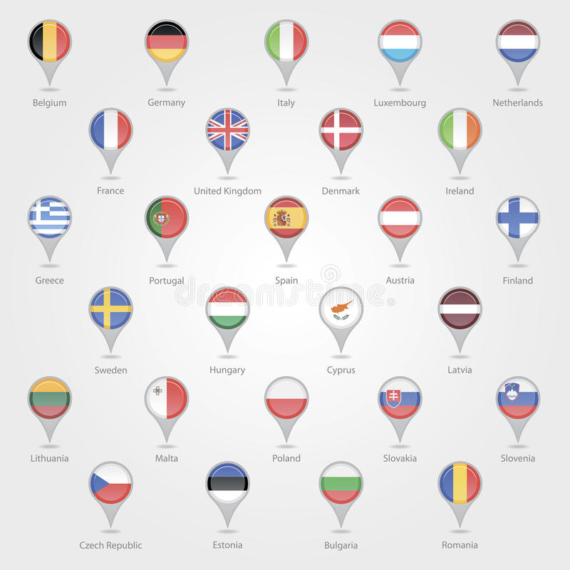 Map markers depicting the EU royalty free illustration