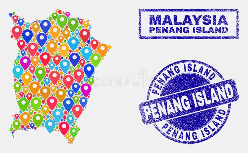 Map Markers Mosaic of Penang Island Map and Scratched Stamps. Vector bright mosaic Penang Island map and grunge seals. Abstract Penang Island map is designed stock illustration