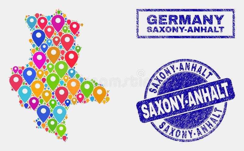 Map Markers Mosaic of Saxony-Anhalt Land Map and Grunge Stamp Seals. Vector colorful mosaic Saxony-Anhalt Land map and grunge stamp seals. Flat Saxony-Anhalt stock illustration