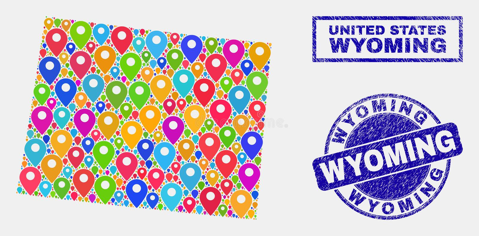 Map Markers Mosaic of Wyoming State Map and Grunge Stamp Seals. Vector colorful mosaic Wyoming State map and grunge stamp seals. Flat Wyoming State map is stock illustration