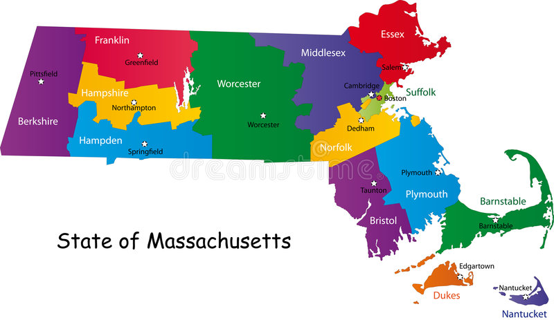 Map of Massachusetts state. Designed in illustration with the counties and the county seats. (Map is hight resolution