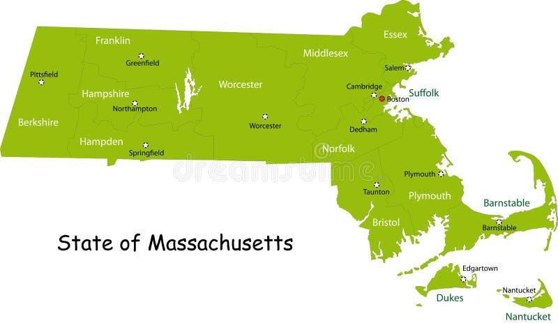 Map of Massachusetts state stock illustration