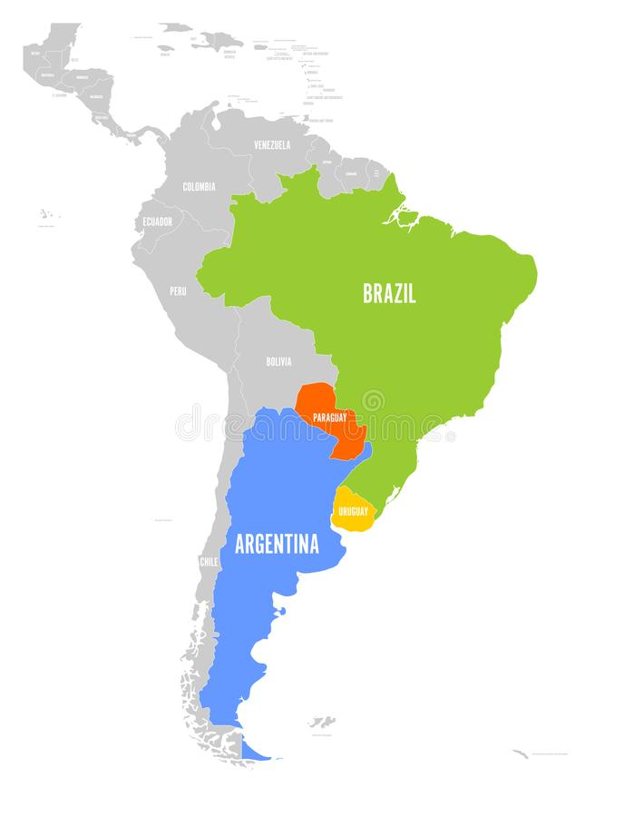 download map of mercosur countires south american trade association highlighted member states brazil
