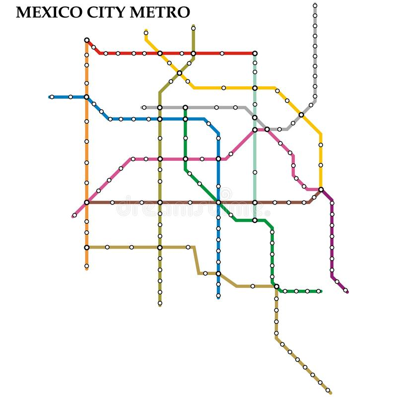 Map of the  metro, Subway. Map of the Mexico City metro, Subway, Template of city transportation scheme for underground road royalty free illustration