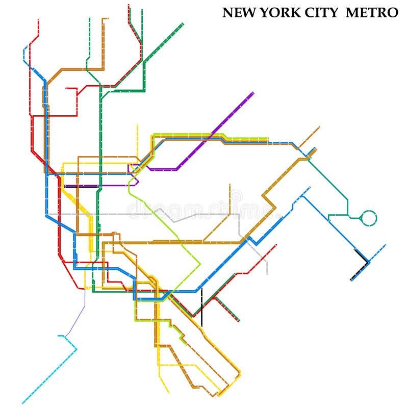 New York City Subway Map Espanol.Subway Vector Map Of New York City Stock Illustration Illustration