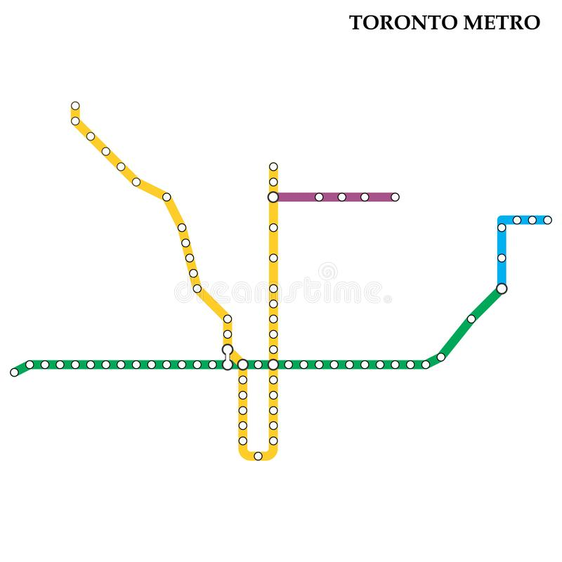 Map of the  metro, Subway. Map of the Toronto metro, Subway, Template of city transportation scheme for underground road royalty free illustration