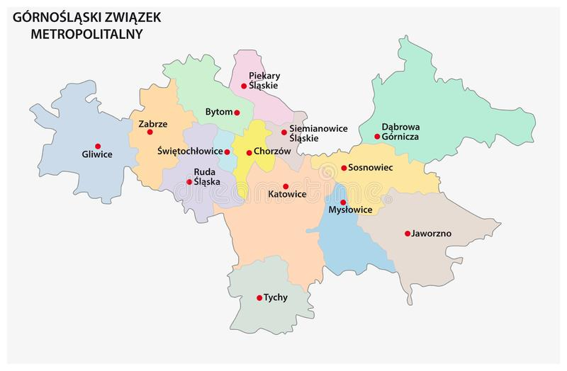 Map of the Metropolitan Association of Upper Silesia and the Dabrowa Basin in Poland.  royalty free illustration