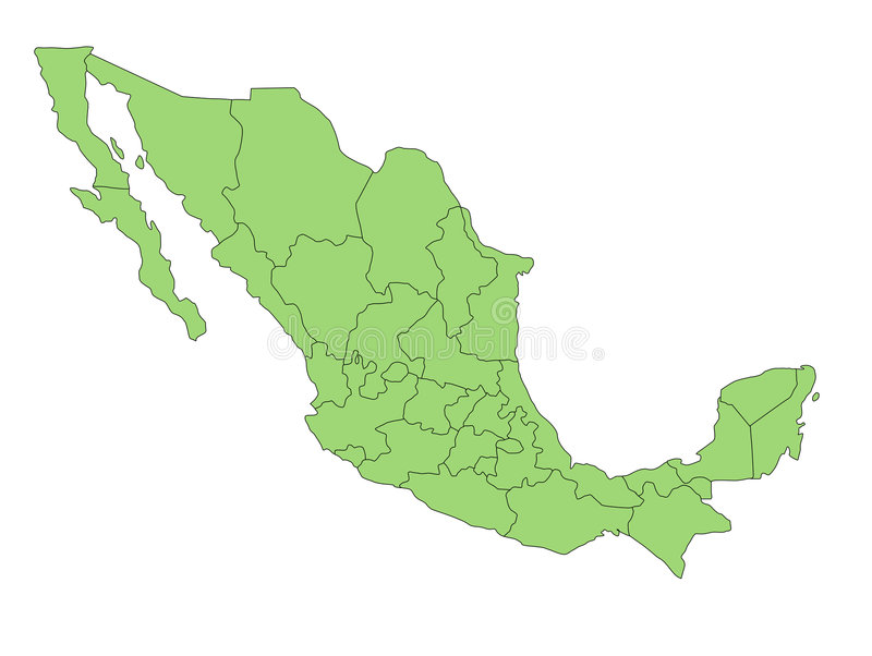 Map Mexico. A map of Mexico showing the different provinces in green tone stock illustration