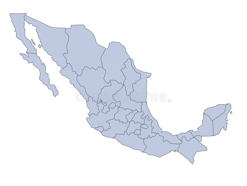 Map Mexico. A map of Mexico showing the different provinces in blue tone vector illustration