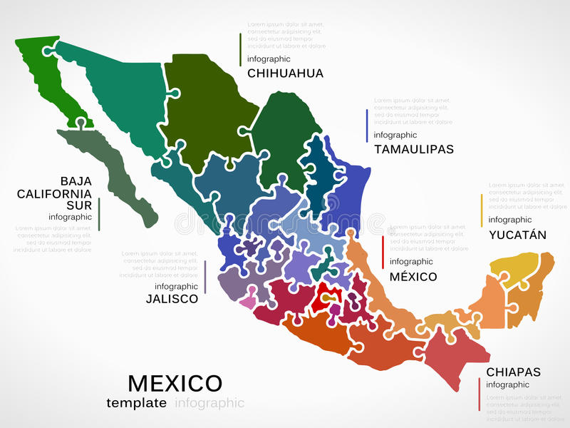 Map of Mexico. Concept infographic template with states made out of puzzle pieces
