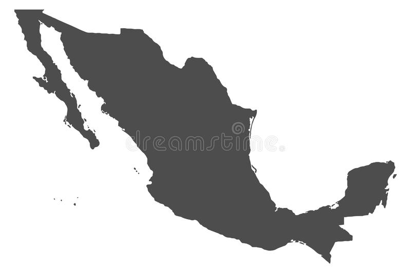 Map of Mexico. Detailed, accurate map of Mexico in high resolution. Vector illustration stock illustration