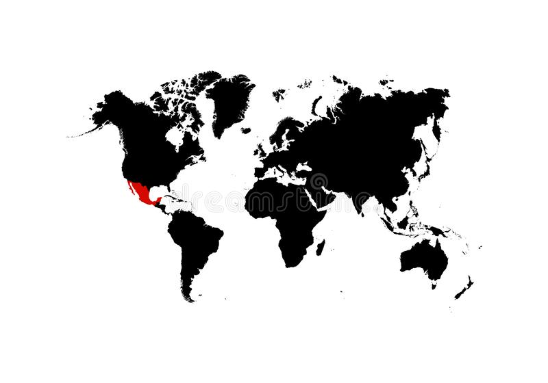 The map of Mexico is highlighted in red on the world map - Vector stock illustration