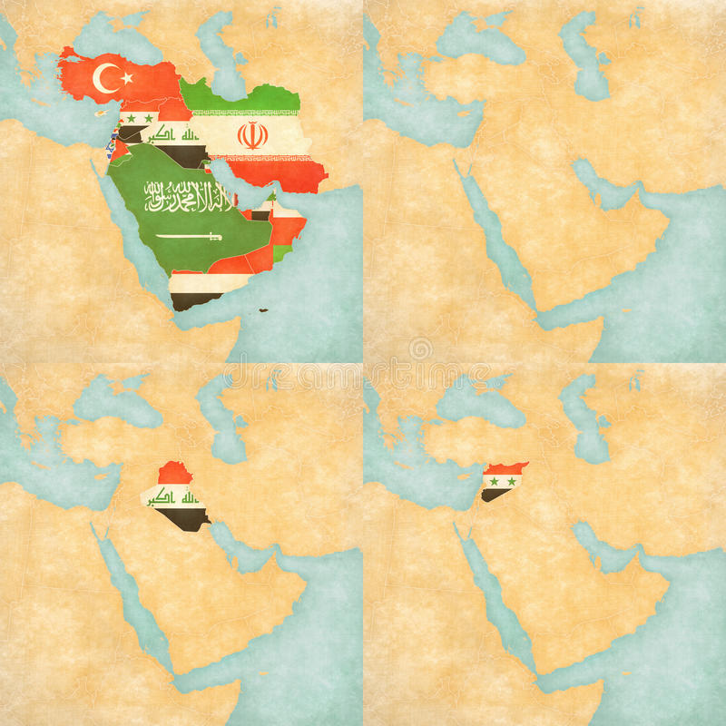 Map of middle east asia all countries blank map iraq and syria flags of all countries on the map of middle east asia in soft grunge and vintage style like old paper with watercolor painting maps with iraq and syria gumiabroncs Image collections