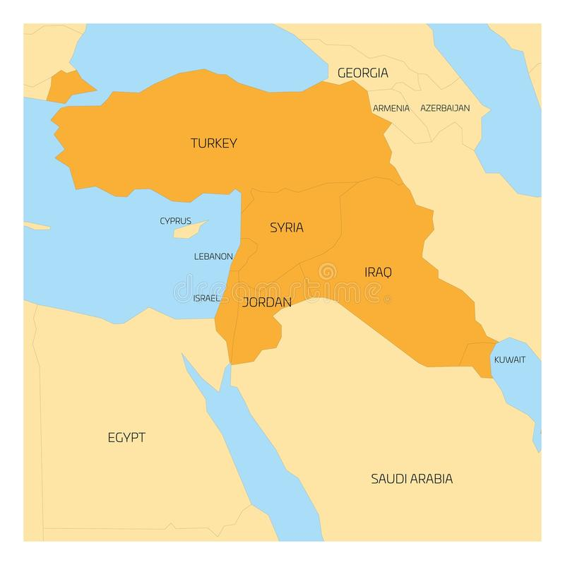 Map of Middle East region stock vector Illustration of geography