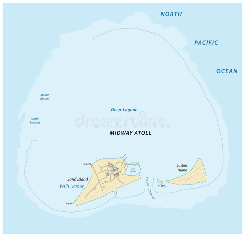 Map of the Midway Atoll in the Northern Pacific Ocean stock illustration