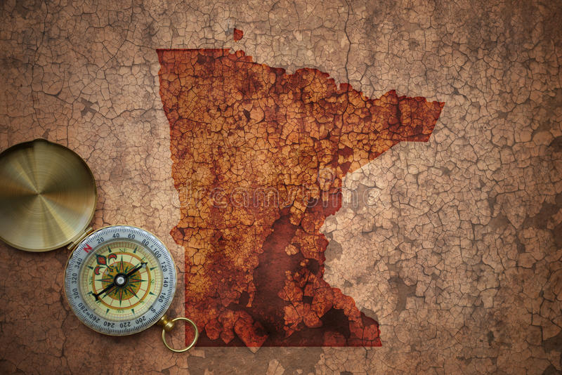 Map of minnesota state on a old vintage crack paper stock image