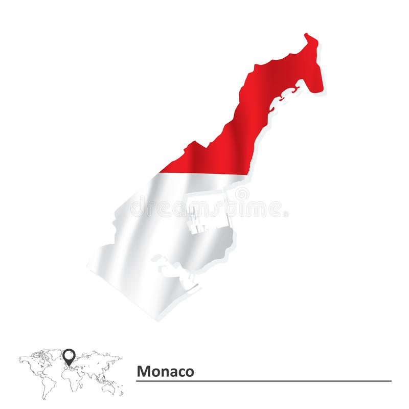 Map of Monaco with flag vector illustration