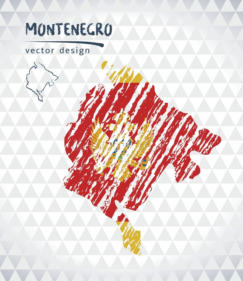 Map of Montenegro with hand drawn sketch map inside. Vector illustration stock illustration