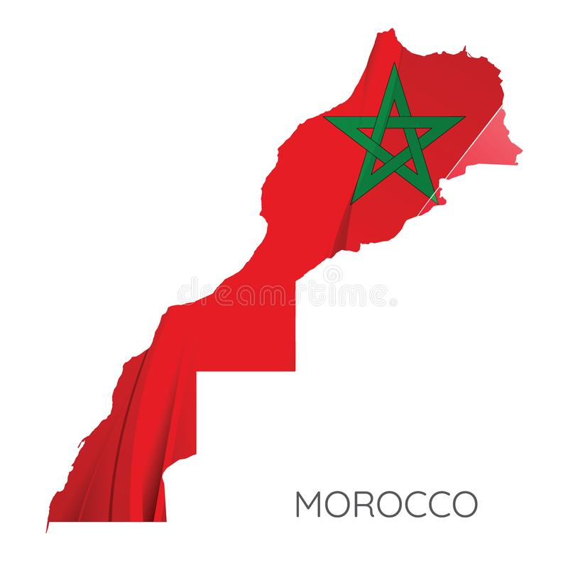 Map Of Morocco With Flag, Vector Illustration vector illustration