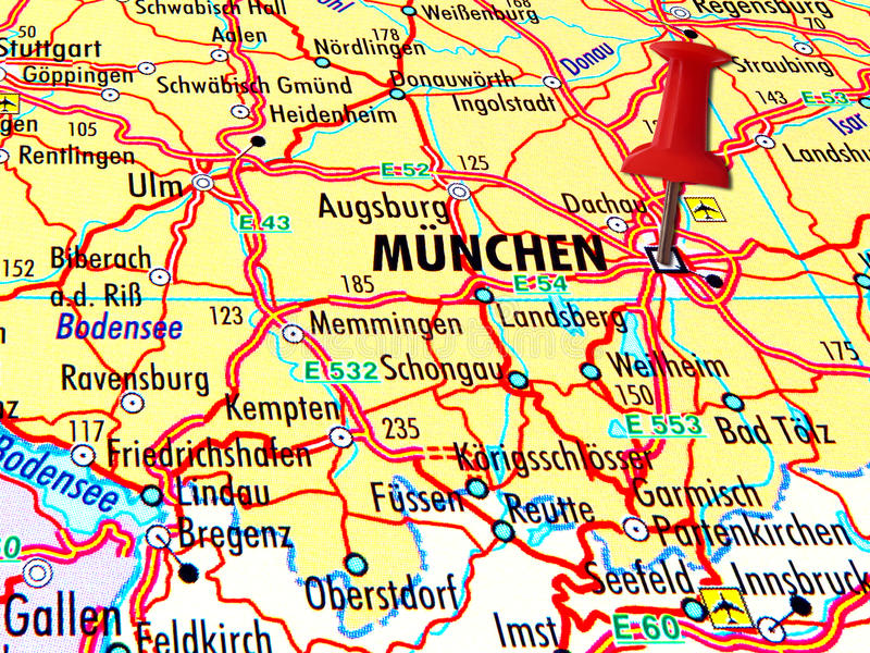 Map Of Munchen With Stabbed Pin Stock Photo Image of geography
