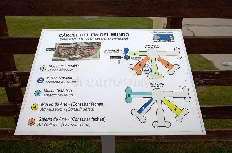Maritime, Prison and Antarctic Museum in Ushuaia, Argentina. Map of the Museo Maritimo y del Presidio de Ushuaia, Argentina. Maritime, Prison and Antarctic royalty free stock images