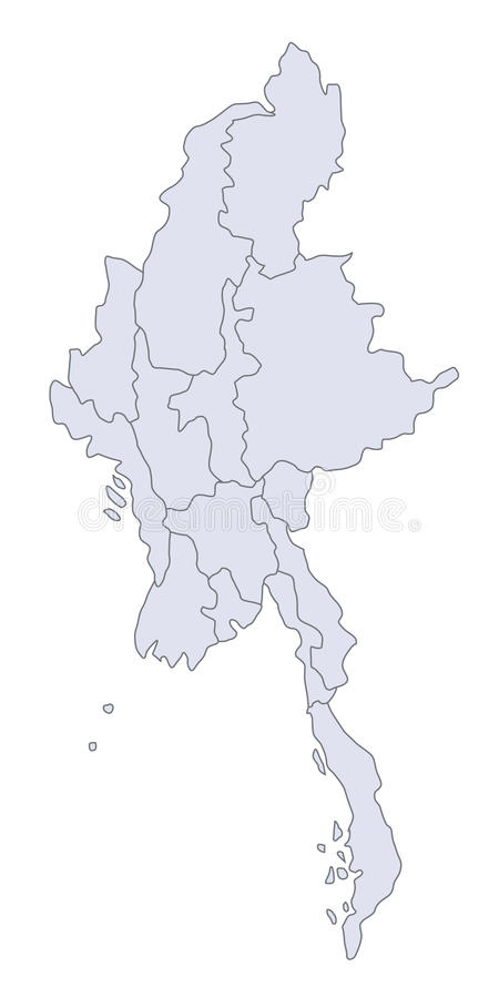 Map Myanmar. A stylized map of Myanmar showing the different provinces royalty free illustration