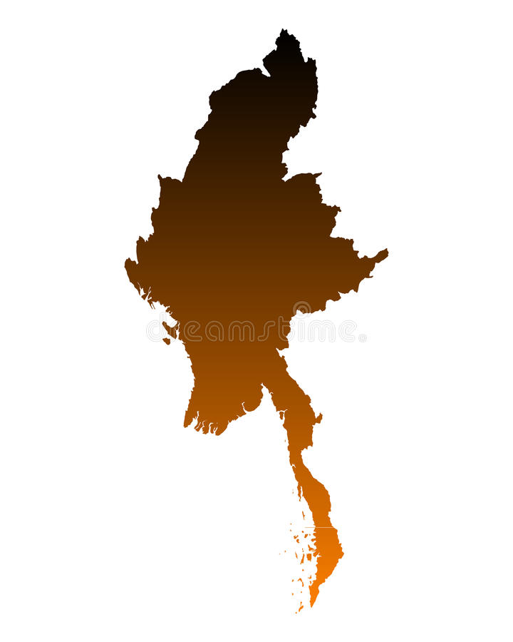 Map of Myanmar. Detailed and accurate illustration of map of Myanmar stock illustration