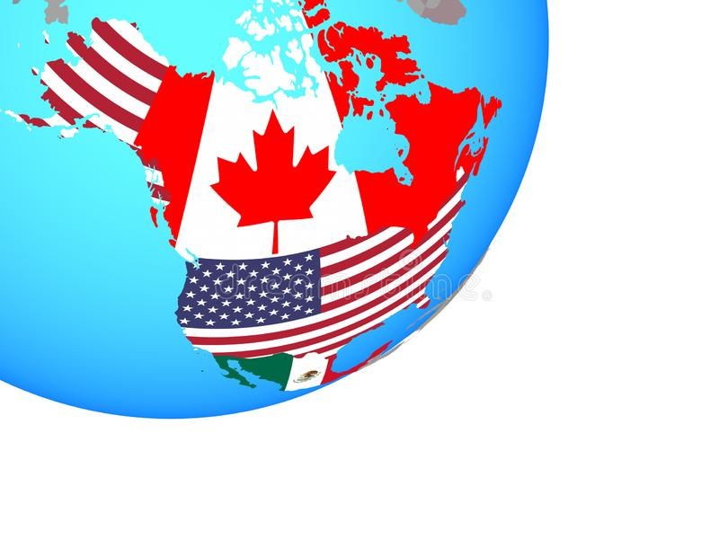 Map of NAFTA memeber states with flag on globe royalty free illustration
