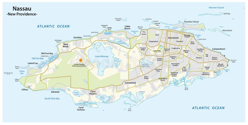 Map of Nassau capital of the Bahamas on the island of New Providence.  vector illustration