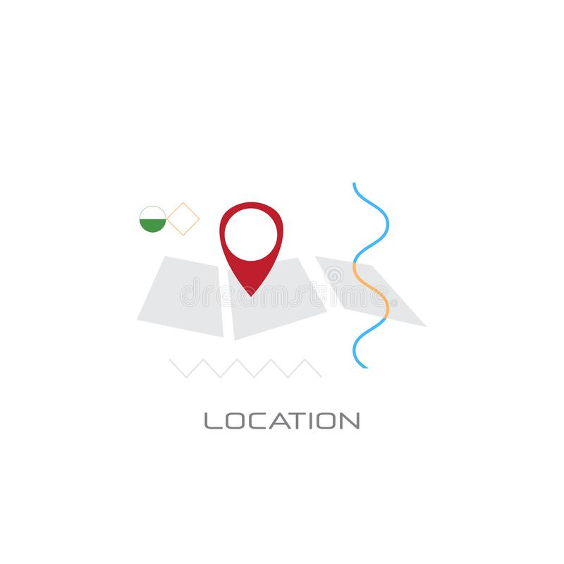 Map navigation app geo tag location position concept line style isolated. Vector illustration stock illustration