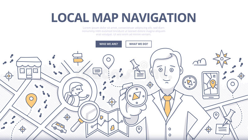 Map Navigation Doodle Concept vector illustration