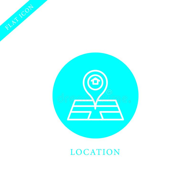 Map navigation, location pin flat line colored icon stock illustration
