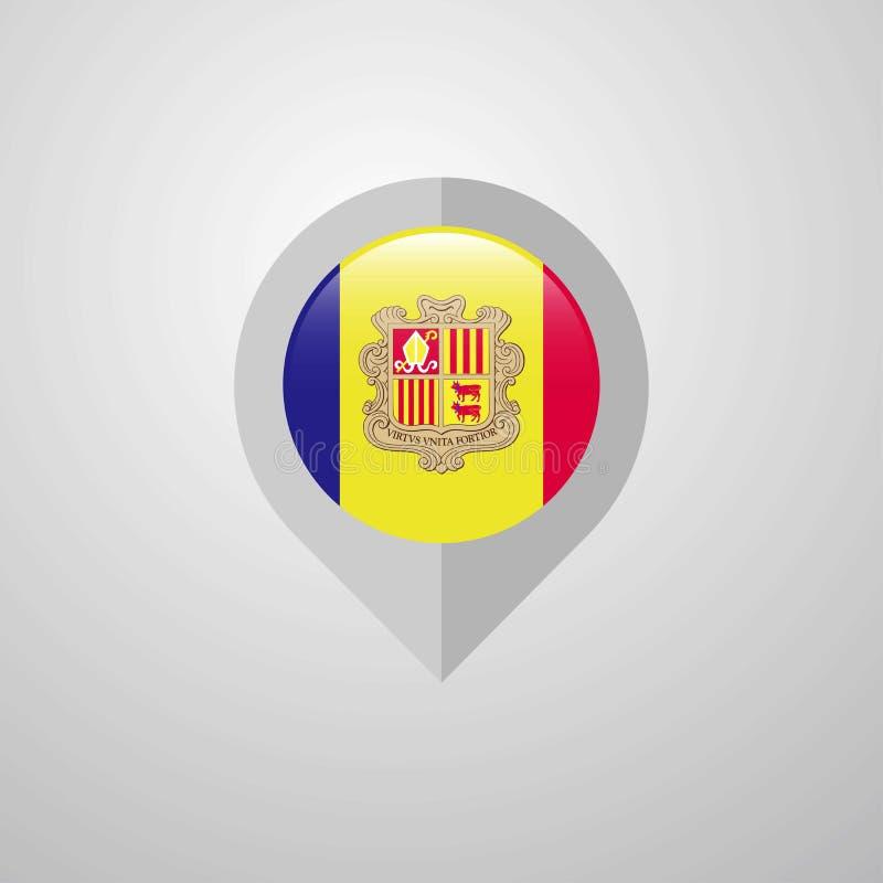 Map Navigation pointer with Andorra flag design vector. This Vector EPS 10 illustration is best for print media, web design, application design user interface vector illustration