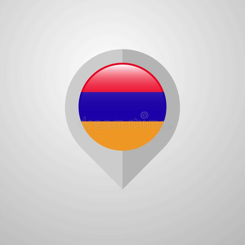 Map Navigation pointer with Armenia flag design vector stock illustration