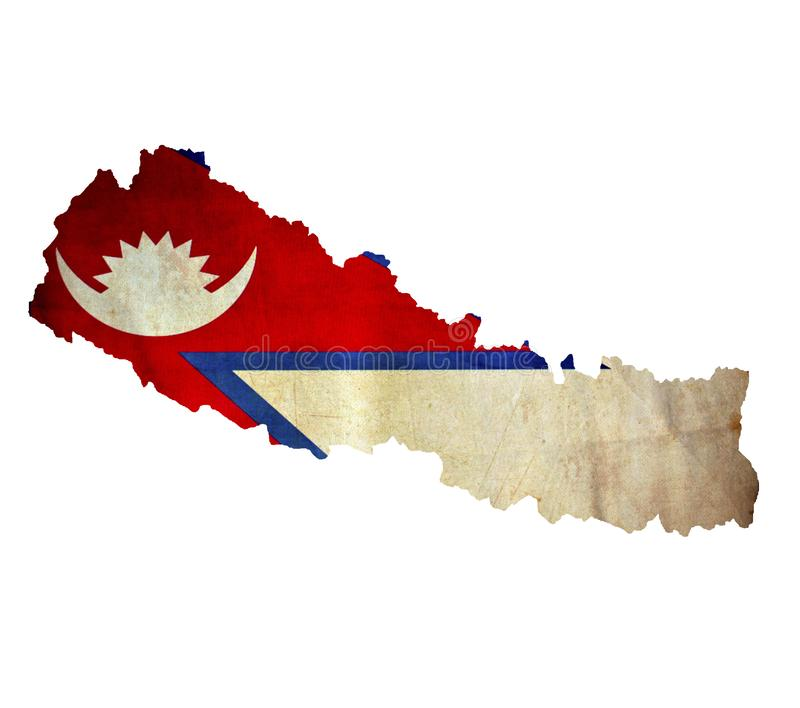 Map of Nepal isolated stock photography
