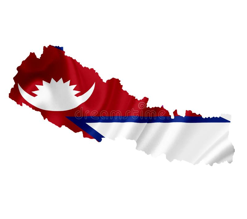 Map of Nepal with waving flag isolated on white royalty free stock photos