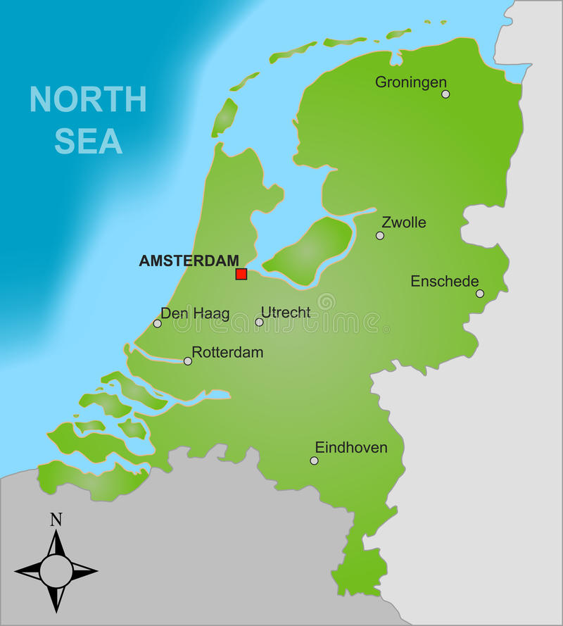 Map of the Netherlands. A stylized map of the Netherlands showing different big cities as well as nearby countries royalty free illustration