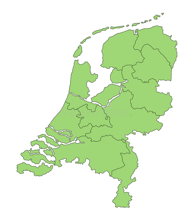 Map Netherlands. A map of the netherlands showing the different provinces in green tone vector illustration