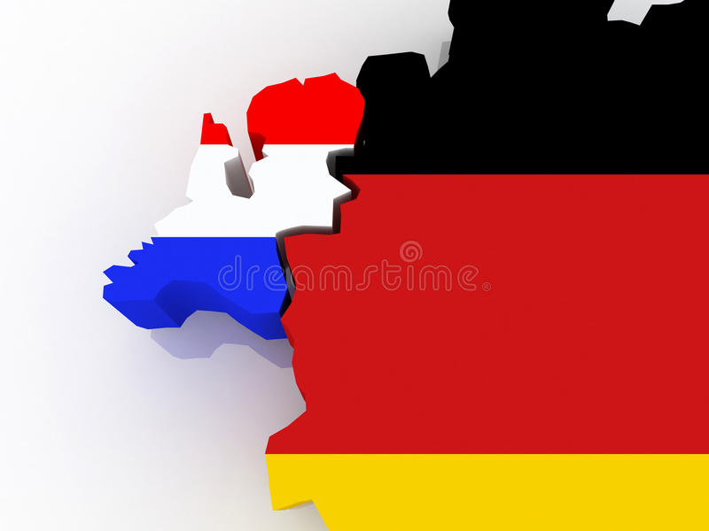 Map of Netherlands and Germany. 3d royalty free illustration