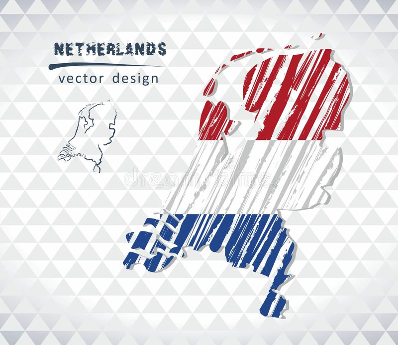 Map of Netherlands with hand drawn sketch map inside. Vector illustration. Vector sketch map of Netherlands with flag, hand drawn chalk illustration. Grunge royalty free illustration