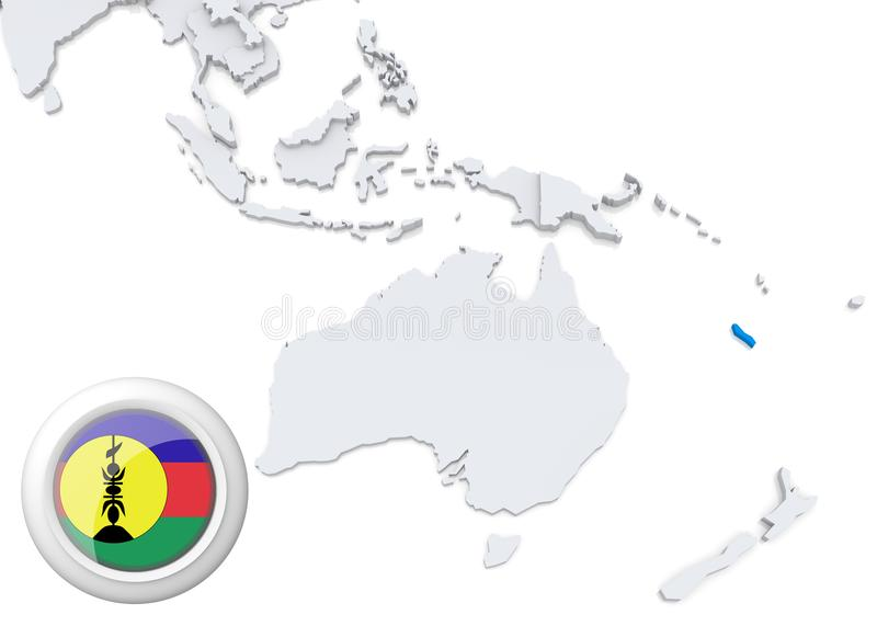 Map of New Caledonia with national flag vector illustration