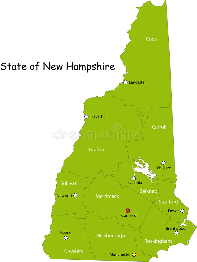 Map of New Hampshire state royalty free illustration
