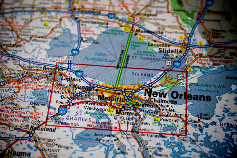 Download Map of New Orleans stock photo. Image of layer, macro - 5400296