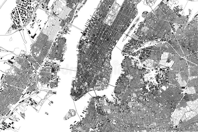 Map of New York, satellite view, United States, neighborhoods with streets and building stock illustration