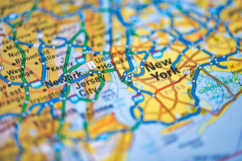Map of New York State, USA. Shallow focus on New York City. US royalty free stock images